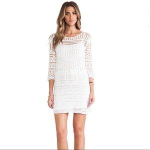 Cynthia Vincent White Crochet Lace Dress